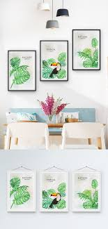<b>Nordic tropical plants</b> small fresh triple frame decorative <b>paint</b> ...