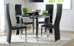 small glass dining table and 4 chairs space square black glass chrome extending dining table and