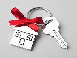 house key. Plain Key House Keys With Red Ribbon On Light Background Stock Photo In Key T