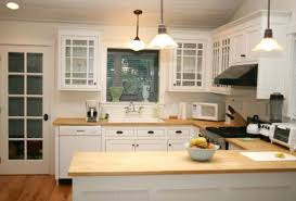 simple kitchen idea with u shaped wooden material kitchen countertops and white kitchen cabinets