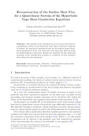 reconstruction of the surface heat flux for a quasi linear system encyclopedia of thermal stresses hyperbolic heat conduction equation springer