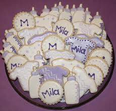 Lavender Baby Shower Decorations Mels Sweet Treats Baby Cookies For A Purple And White Baby Shower