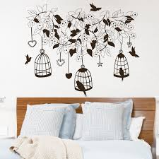 decorations wall decal flowers and tree silhouette animal wall decals birds on the cage theme