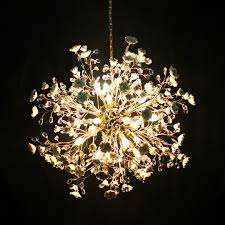 Golden Lipper Lighting Ceramic Flower Handmade Special Chandeliers Pendants