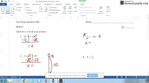 one step equations worksheets one step equation multiplication