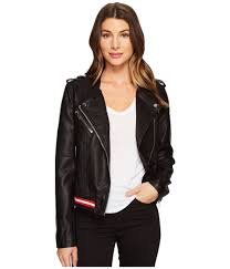 blank nyc vegan leather elastic band moto jacket in frisky business fitted faux leather moto