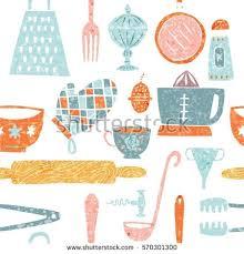 Trendy Kitchenware Seamless Pattern Handdrawn Kitchenware Utensils .