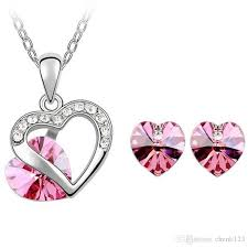 2019 austrian crystal 18k gold plated heart pendant necklace fashion crystal from swarovski elements jewelry sets for women stud earrings 4351 from