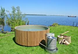 outdoor hot tub wood fired designs