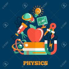 Physics Science Flat Design Poster With Atom Model Magnet Books