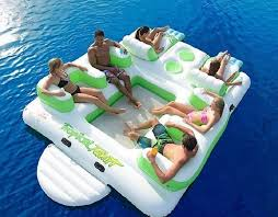 inflatable pool floating island loungers floats with cup holders beach 6 person