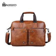 whole baigio men leather briefcase for 14 5 laptop business bag designer italian leather messenger bag tote satchel shoulder men bag