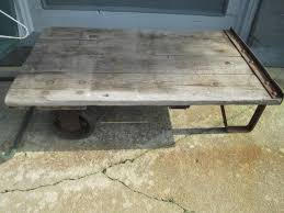 antique industrial trolley cart coffee table steampunk reclaimed