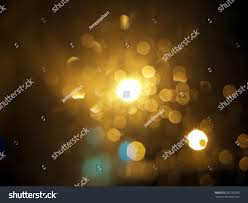 Bubble Night Lights Abstract Black Background Gold Bubble Lights Stock Photo
