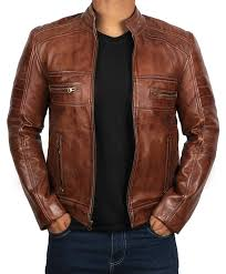 brown leather jacket for men distressed genuine motorcycle leather jackets at men s clothing