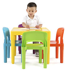 com tot tutors kids plastic table and 4 chairs set vibrant colors kitchen dining