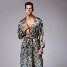 Kimono Robe Pattern New Mens Luxury Paisley Pattern Bathrobe Kimono Robes V Neck Faux Silk
