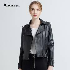 gours womens genuine leather jackets female fashion short motorcycle jacket black classic punk style las sheepskin coats 712 wnqt9