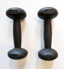 york legacy dumbbells. vintage pair york 5 lb dumbbells bun style cast iron weight lifting decor legacy