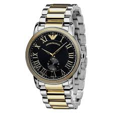 armani ar0466 mens classic two tone bracelet watch emporio armani ar0466 mens classic two tone bracelet watch