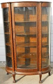 curved glass curio cabinet.  Cabinet Antique Curio Cabinets  QUARTER SAWN OAK CURVED GLASS CHINA CABINET W  CLAW FEET U0026 COLLUMNS  And Curved Glass Cabinet Pinterest