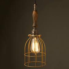 cage lighting pendants. bronze trouble light cage pendant wooden handle antiqued lighting pendants