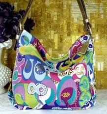 Coach Poppy Purple Pink Blue Green Signature Crossbody Hobo Tote Bag Purse    eBay