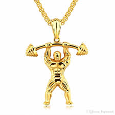 whole fashion new design sport men necklace gym weightlifting building collar fitness pendant gym exercise necklace for men mens pendant necklaces