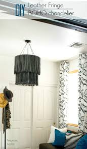 how to make a leather fringe boho style chandelier with step by step tutorial