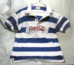 vintage 1980 s coca cola rugby polo shirt blue white cotton short sleeve large
