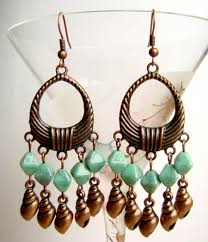 chandelier earrings with s copper tone earrings with turquoise glass beads summer earrings