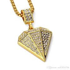 whole fashion men custom jewelry hip hop gold pendant necklaces rhinestone design 18k gold filled long chain filling pieces men diamond heart necklace
