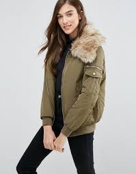 new look padded er with faux fur collar dark khaki women jackets new look flat