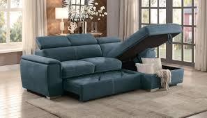 ferriday blue sofa chaise sleeper open view