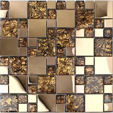 glass mosaic tiles gold stainless steel for kitchen and bathroom metal and glass mosaic tile patterns