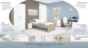 Schlafzimmer Komplett Set A Savai 5 Teilig Farbe Eiche Weiß