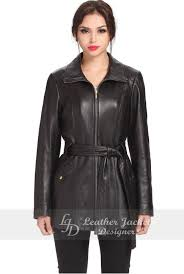 classic women belt style black soft supple leather coat front view