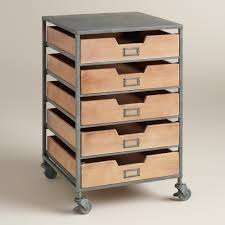 5 Drawer Metal File Cabinet Wood And Metal 5 Drawer Frederick Rolling Cart Scrapbook Paper