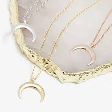 drop crescent moon necklace in silver gold or rose