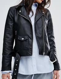 warehouse warehouse faux leather crop biker jacket women black
