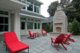 stamped concrete patio with fireplace. Cement Squares Also Red And White Striped Pillows On Outdoor Wood Chairs Chaise Lounge Stamped Concrete Patio With Fireplace D
