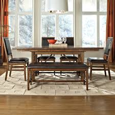 Padded Benches Living Room 6 Piece Dining Table Upholstered Chair And Bench Set By Intercon