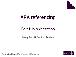 Apa Citation In Text Apa 6th Edition Referencing Part 1 In Text Citation