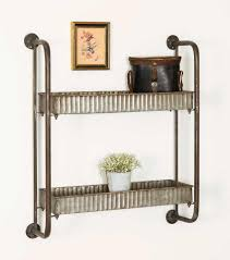 small metal shelf. Industrial Farmhouse Small 2 Tiered Galvanized Corrugated Metal Shelves Shelf S