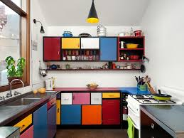 Colourful Kitchen Appliances Beige Walls White Countertop Wall Oven Glass Front Cabinets