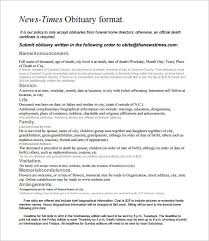 Newspaper Obituary Template Microsoft Word Thefreedl