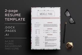 Elegant 2 Page Cv Template Resume Templates Creative Market
