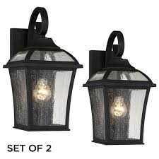 outdoor wall lights fixture set of 2 textured black 15 seedy glass for house
