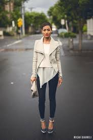 this combo of a grey leather biker jacket and dark blue jeans is a safe bet