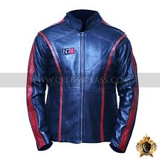 mass effect n7 black leather jacket
